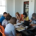 Estudiantes en clase en Brooklyn